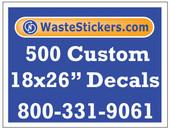 Package of 500 Custom 18 X 26 Inch Vinyl Decals.