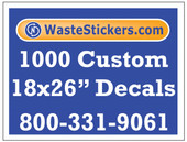 Package of 1000 Custom 18 X 26 Inch Vinyl Decals.
