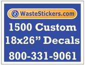Package of 1500 Custom 18 X 26 Inch Vinyl Decals.