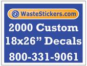 Package of 2000 Custom 18 X 26 Inch Vinyl Decals.