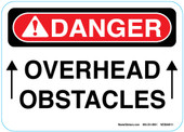 "5 x 7"" Danger Overhead Obstacles Sticker Decal"