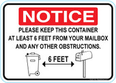 "5 x 7"" Notice 6 Feet From Your Mailbox Sticker Decal"