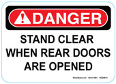 """5 x 7"""" Danger Stand Clear When Rear Doors Are Opened Sticker Decal"""