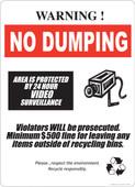 "13 x 18"" Warning No Dumping 24 Hour Video Surveillance"