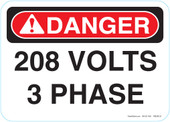 """5 x 7"""" Danger 208 Volts 3 Phase Decal"""