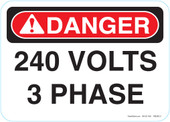 """5 x 7"""" Danger 240 Volts 3 Phase Decal"""