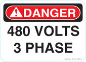 "5 x 7"" Danger 480 Volts 3 Phase Decal"