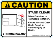 "5 x 7"" Caution Stand Clear Sticker Decal"