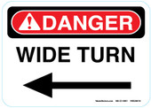 "5 x 7"" Danger Wide Left Turn Sticker Decal"