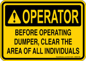 "5 x 7"" Operator Clear Area Decal"