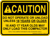"5 x 7"" Caution Do Not Operate Unless 18 Decal"