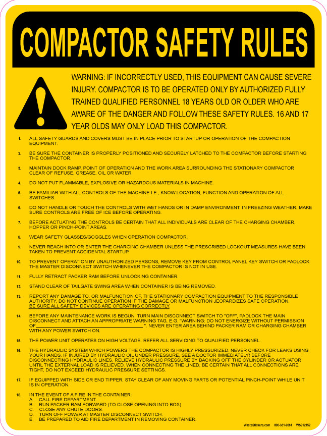 General Safety Awareness for Industrial Trash Compactor