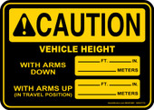 "5 x 7"" Caution Vehicle Height Decal"