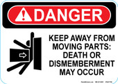 "5 x 7"" Danger Keep Away From Moving Parts Decal"