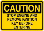 Caution Decal Stop Engine And Remove Ignition Key Before Entering Sticker