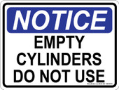 "9 x 12"" Notice Empty Cylinders Do Not Use Decal"