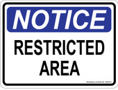 "9 x 12"" Notice Restricted Area Decal"