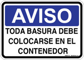 "5 x 7"" Bilingual Aviso All Trash Must Be Put In The Container Sticker Decal"