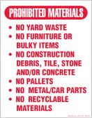 """8.5 x 11""""Prohibited Materials"""