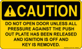 "3 x 5"" Caution Do Not Open Door Sticker"