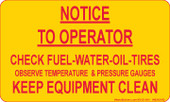 "3x 5"" Notice To Operator Sticker"