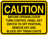 Caution Decal Before Opening Door Turn Control Panel Key Switch Sticker