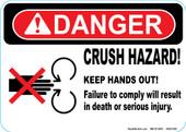 "5 x 7"" Danger Crush Hazard"