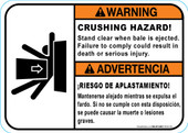 "5 x 7"" Warning Bilingual Crushing Hazard"