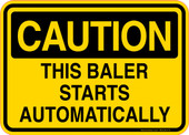 Caution Decal This Baler Starts Automatically Sticker