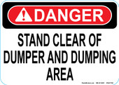 """5 x 7"""" Danger Stand Clear of Dumper and Dumping Area Decal"""