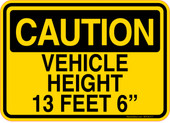 "Caution Decal Vehicle Height 13 Feet 6"" Sticker"