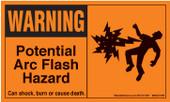 """3x 5"""" Warning Potential Arc Flash Hazard"""