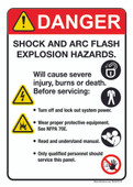 "5 x 7"" Danger Shock And Arc Flash Explosion Hazards."