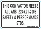 "5 x 7"" This Compactor Meets All Ansi Z245.21-2008 Safety & Performance STDS"