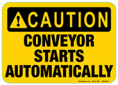 "5 x 7"" Caution Conveyor Starts Automatically Decal"