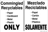 "12 x 18"" Commingled Recyclables Bilingual Decal"