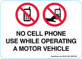 "5 x 7"" No Cell Phone Use While Operating A Motor Vehicle Decal"