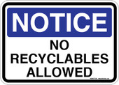 "5 x 7"" Notice No Recyclables Allowed Sticker Decal"