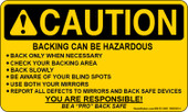"3 x 5"" Caution Backing Can Be Hazardous Sticker"