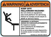 "5 x 7"" Bilingual Warning Keep Off! Fall/Crush Hazard Decal"