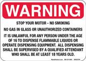 """5 x 7"""" Warning Stop Your Motor - No Smoking, Despensing Equipment Decal"""