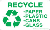 """3 x 5"""" Recycle-Paper, Plastic, Cans, Glass Decal"""