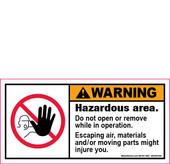 "2 x 4"" Warning, Hazardous area decal"