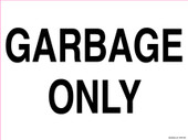 """9 x 12"""" Garbage Only Recycling Decal"""