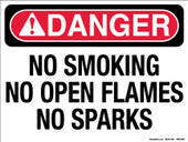 "9 x 12"" Danger No Smoking, No Open Flames, No Sparks, Decal"