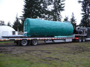 Our underground shelters are ready to travel and be installed!  Underground Shelter is internally and externally reinforced (reminds one of a submarine) 8 ft diameter by 27 ft long, made of Heavy Duty Steel. Insulated for Safety and Comfort.