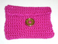Pouch Crochet, Pink With Gold Colored Button