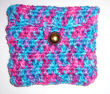 Pouch, Handmade Crochet Multicolored With Loop Closure