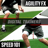Speed 101 and Agility Cone Drill FX Digital Trainers can be placed on your Smartphone, Tablet, or Laptop to train anywhere.