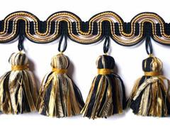 Barcelona 95mm Tassel Fringe, Colour 1 Black/ Gold